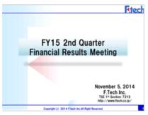 FY15 2Q Financial Presentation